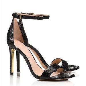 Tory Burch Black Leather Snakeskin Scrappy Heel